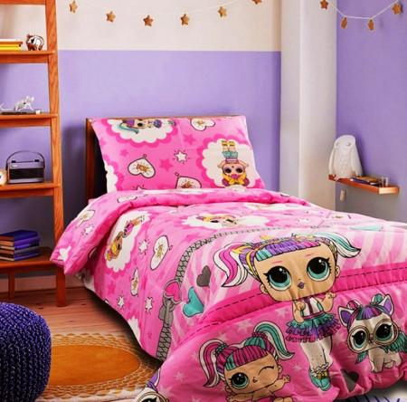 Poze Lenjerie de pat copii LOL Surprise fundal roz