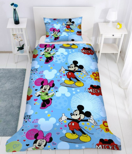 Poze Lenjerie de pat copii Mikey & Minnie Disney fundal albastru