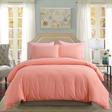 Lenjerie de pat matrimonial Premium Ranforce uni roz pudra