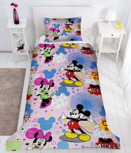 Poze Lenjerie de pat copii Mikey & Minnie Disney fundal roz