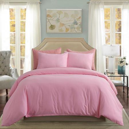 Lenjerie de pat matrimonial Premium Ranforce uni roz