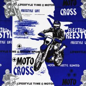 Bumbac ranforce imprimat pentru copii model Moto cross rola 30m/240cm