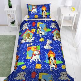Lenjerie de pat copii Dalmatieni Disney fundal albastru ( stoc limitat )