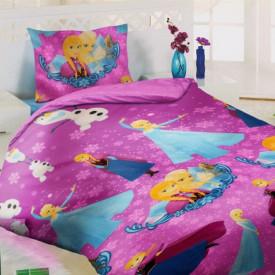 Lenjerie de pat copii Elsa & Anna fundal roz ( stoc limitat )