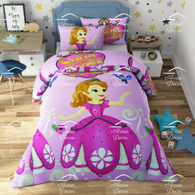 Lenjerie de pat copii Sofia fundal roz ( stoc limitat )