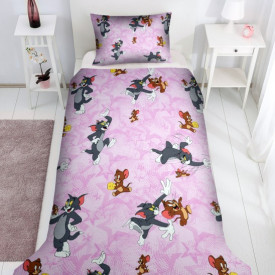 Lenjerie de pat copii Tom & Jerry fundal roz