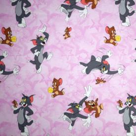 Bumbac ranforce imprimat pentru copii model Tom si Jerry roz rola 30m/240cm