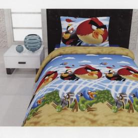 Lenjerie de pat copii Angry Birds bumbac 100%