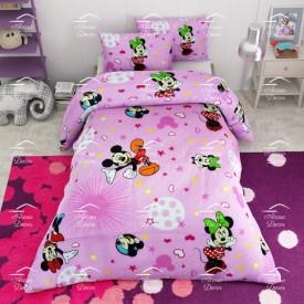 Lenjerie de pat copii Mickey si Minnie stars fundal roz