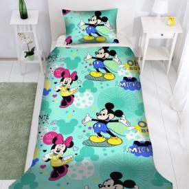 Lenjerie de pat copii Mikey & Minnie Disney fundal verde ( stoc limitat )
