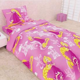 Lenjerie de pat copii Rapunzel fundal roz
