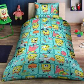 Lenjerie de pat copii Spongebob Disney fundal verde ( stoc limitat )