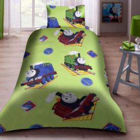 Lenjerie de pat copii Trenuletul Thomas fundal verde ( stoc limitat )