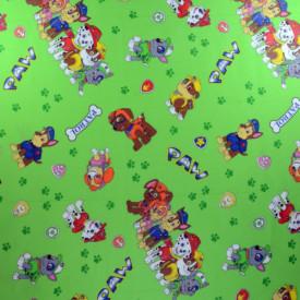 Bumbac ranforce imprimat pentru copii model Team verde rola 40m/225cm