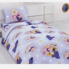 """Lenjerie copii bumbac """"Winnie the Pooh"""" Disney fundal albastru"""