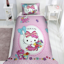 Lenjerie de pat copii Hello Kitty flowers