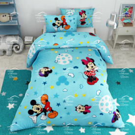 Lenjerie de pat copii Mickey si Minnie stars fundal albastru