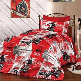 Lenjerie de pat copii Moto Cross fundal rosu