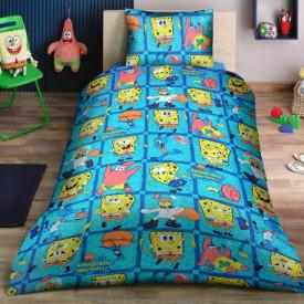 Lenjerie de pat copii Spongebob Disney fundal albastru ( stoc limitat )