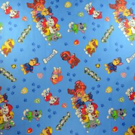 Bumbac ranforce imprimat pentru copii model Team albastru rola 40m/225cm
