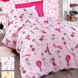 Lenjerie de pat copii Balerina 2 fundal roz