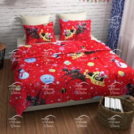 Lenjerie de pat copii Christmas stars fundal rosu