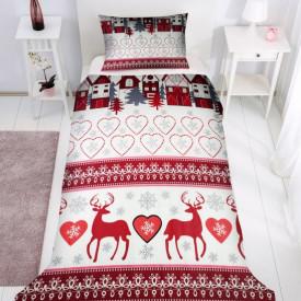Lenjerie de pat copii Reni de Craciun 2