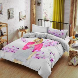 Lenjerie de pat copii Violetta fundal roz ( stoc limitat )