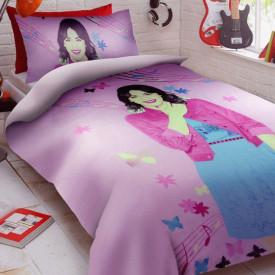 Lenjerie de pat copii Violetta music fundal roz ( stoc limitat )