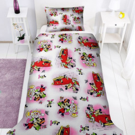 Lenjerie de pat copii Mikey si Minnie clasic fundal roz