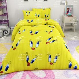 Lenjerie de pat copii Tweety fundal galben