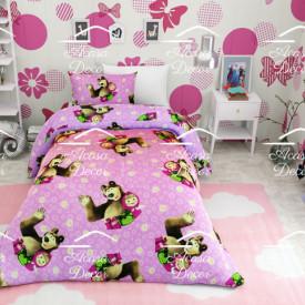 Lenjerie de pat copii Masha and bear fundal roz