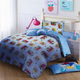Lenjerie de pat copii Mikey & Minnie fundal albastru