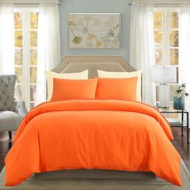 Lenjerie de pat matrimonial Premium Ranforce uni portocaliu