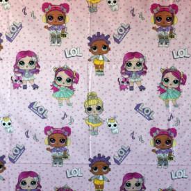 Bumbac ranforce imprimat pentru copii model Friends stars roz rola 30m/240cm