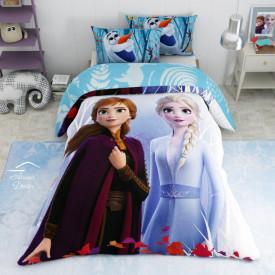 Lenjerie de pat copii Elsa si Anna Journey