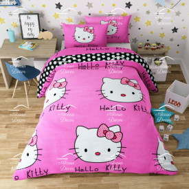 Lenjerie de pat copii Hello Kitty fundal roz