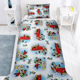 Lenjerie de pat copii Mikey si Minnie clasic fundal albastru