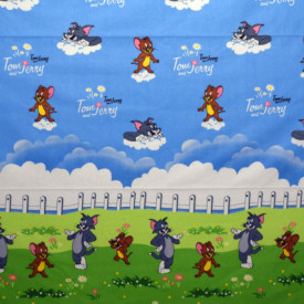 Bumbac ranforce imprimat pentru copii model Tom si Jerry rola 40m/225cm