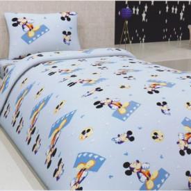 Lenjerie de pat copii Mikey fundal albastru