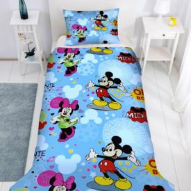 Lenjerie de pat copii Mikey & Minnie Disney fundal albastru