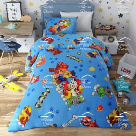 Lenjerie de pat copii Patrula Catelusilor fundal albastru ( stoc limitat )
