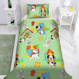 Lenjerie de pat copii Dalmatieni Disney fundal verde ( stoc limitat )