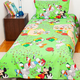 Lenjerie de pat copii Mickey Party fundal verde