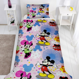 Lenjerie de pat copii Mikey & Minnie Disney fundal roz