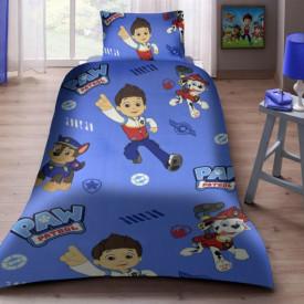 Lenjerie de pat copii Paw Patrol fundal albastru ( stoc limitat )