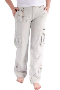 Pantalon bej cu buzunare