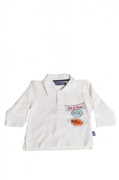 Tricou alb cu guler si imprimeu