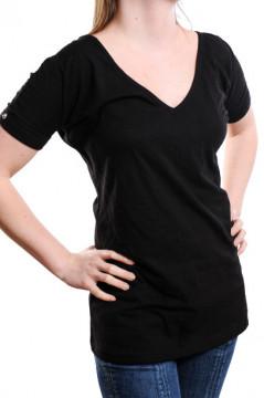 Tricou negru cu decolteu in V