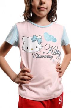 Tricou roz cu imprimeu pisica